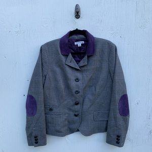 Pendleton Purple Plaid Elbow Patch Blazer Jacket